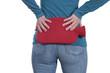 Leinwanddruck Bild - Frau hält Wärmflasche auf den Rücken bei Rückenschmerzen