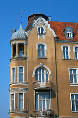 Turret and facade Art Nouveau building in Poznan.