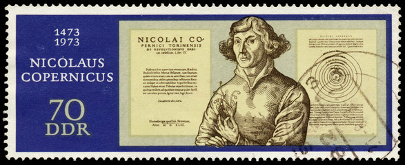 Stamp printed in Germany shows Nicolaus Copernicus