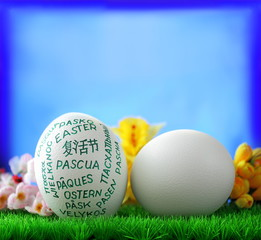 White  giant easter egg on green groundwork