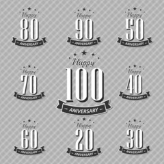 Set of Retro Vintage style anniversary