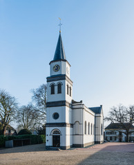 Small white plastered church in the Netherlands