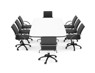 Big conference table and eight black office chairs. Isolated