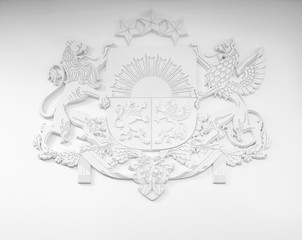 White bas-relief Coat of arms of Latvia