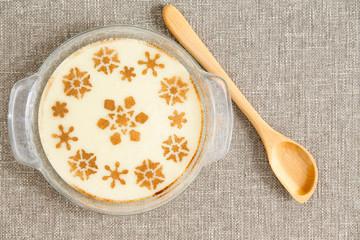 Gourmet Tasty Milky Semolina Dessert on Bowl