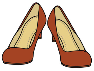 Hand drawing of a red pumps