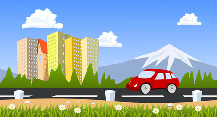 City surrounded by nature landscape with car