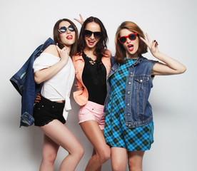 three stylish sexy hipster girls best friends