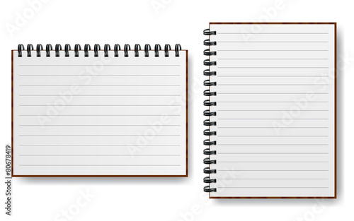 Notebook with spiral line realistic paper vector illustration - 80678419