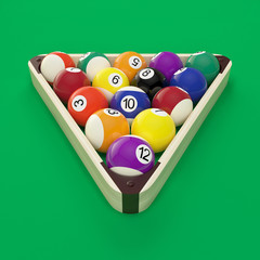 Randomly placed balls in a triangle on a green billiard table