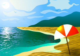 Vector illustration. The beach on the ocean in the mountains