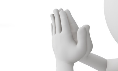 3d man praying isolated with white background