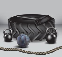 kettlebell,medicine ball, hammer, tractor tire, rope.