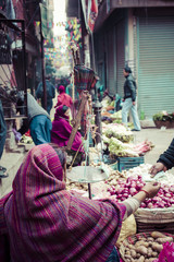 The street vendor sels his fruits and vegetables in Thamel in Ka