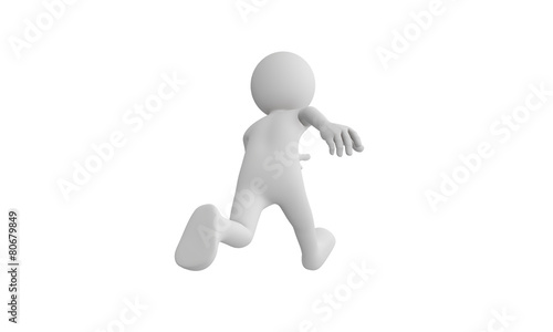 Leinwandbild Motiv 3d man run, Isolated on white background