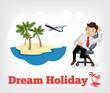 Dream holiday. Vector flat illustration