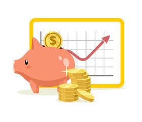 Vector piggy bank flat illustration