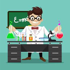 Vector flat scientist illustration