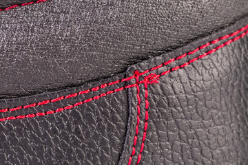 Close up of red stitches.
