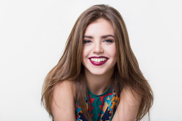 Portrait of beautiful girl with red lips