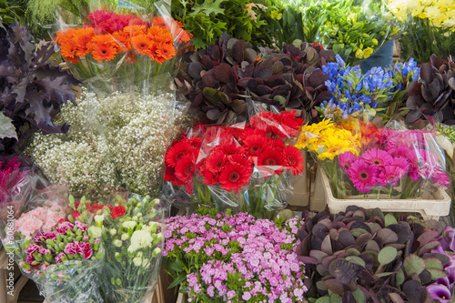 Cut flowers of a market stall