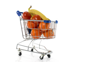 shopping cart with fresh fruit