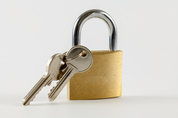 Padlock with keys on a white background
