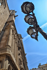 Facade of cathedral and lamp post
