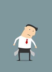 Cartoon sad businessman with empty pockets