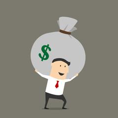 Businessman with money bag cartoon character