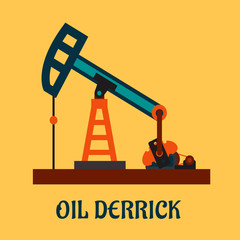 Flat oil derrick or pump jack