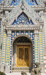the beautiful main entrance door to the temple