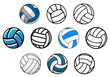 Volleyball balls in outline and cartoon style - 80682688