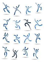 Abstract silhouettes of dancing people