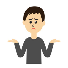 I don't know. An illustration of a young man shrugging.