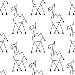 Doodle sketch african camel seamless pattern