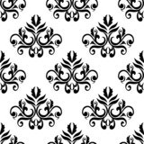Leaves and tendrils compositions seamless pattern