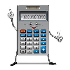Solar powered calculator cartoon character