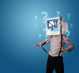 Person with a monitor head and cloud based technology on the scr