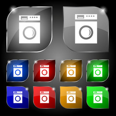 washing machine icon sign. Set of ten colorful buttons with glar