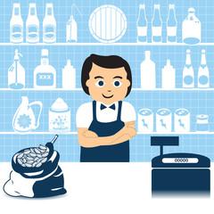 Salesman in grocery shop