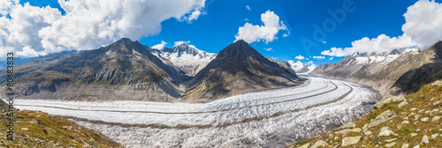 Panorama view of the Aletsch glacier on Mountains - 80683833