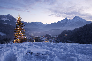 Christmas tree in Berchtesgaden in front of mount Watzmann