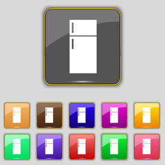Refrigerator icon sign. Set with eleven colored buttons for your
