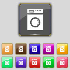 washing machine icon sign. Set with eleven colored buttons for y