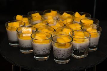 Delicious mango panacota dessert