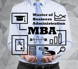 businessman holding mba concept poster