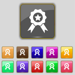 Award, Medal of Honor icon sign. Set with eleven colored buttons