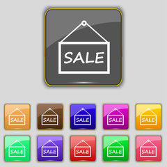 SALE tag icon sign. Set with eleven colored buttons for your sit