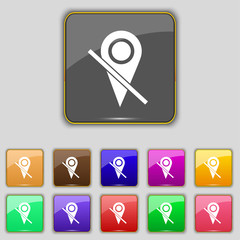 Map pointer icon sign. Set with eleven colored buttons for your